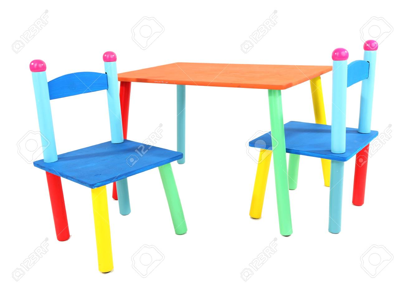 Small and colorful table and chairs for little kids isolated on white Stock Photo - 19037293
