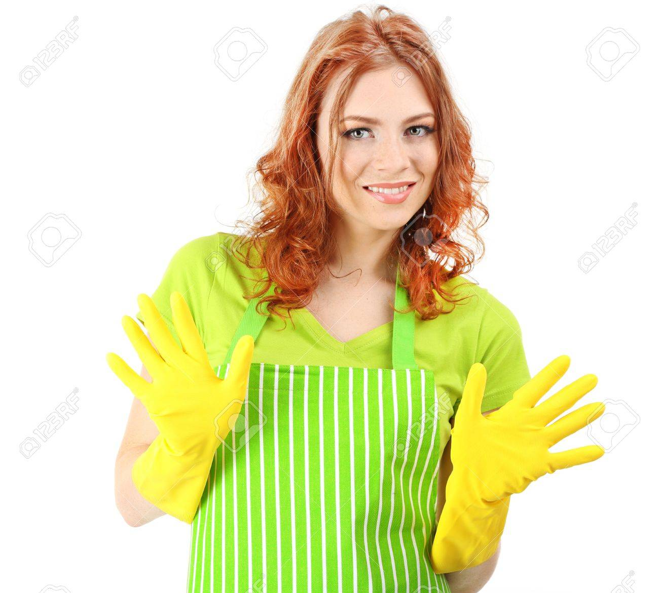 White apron green thumb - Stock Photo Young Woman Wearing Green Apron And Rubber Gloves Isolated On White