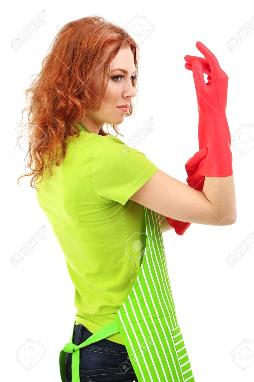 White apron ladies - Stock Photo Young Woman Wearing Green Apron And Rubber Gloves Isolated On White