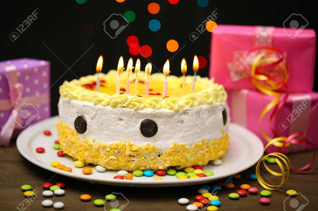 Admirable Happy Birthday Cake And Gifts On Black Background Stock Photo Birthday Cards Printable Trancafe Filternl