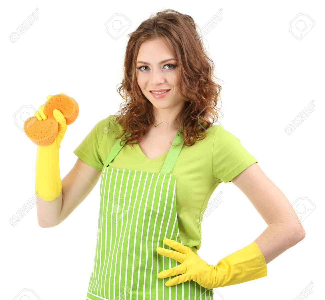 White apron green thumb - Stock Photo Young Woman Wearing Green Apron And Rubber Gloves With Sponge Isolated On White