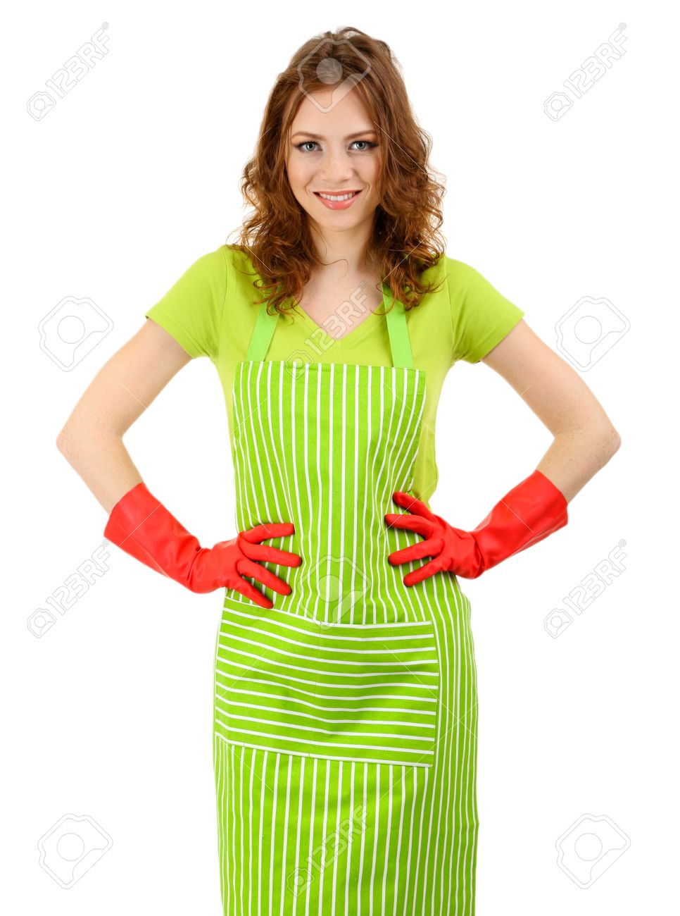 White rubber apron - Stock Photo Young Woman Wearing Green Apron And Rubber Gloves Isolated On White