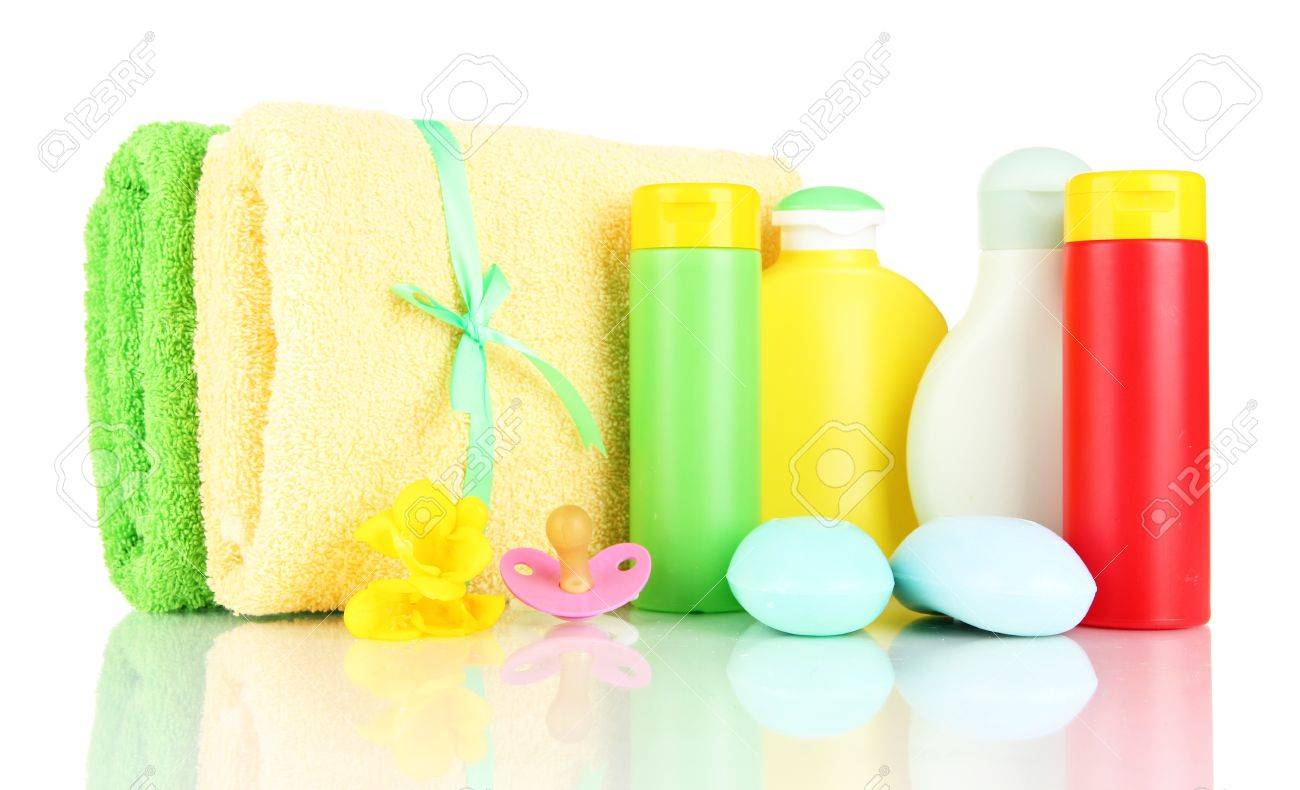 Baby cosmetics, soap and towels, isolated on white Stock Photo - 19273440