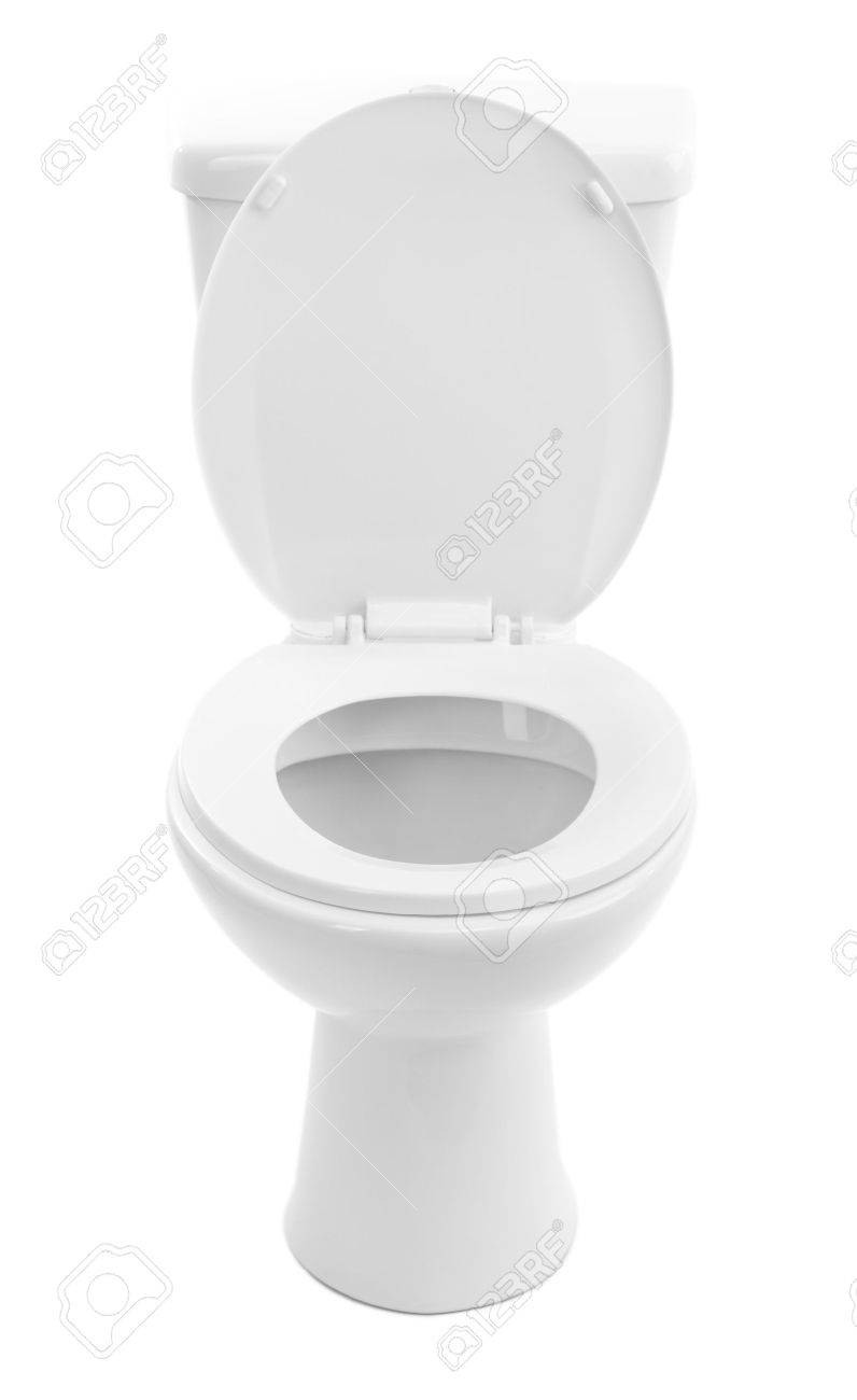 White Toilet Bowl, Isolated On White Stock Photo, Picture And ...