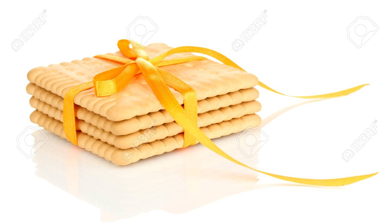 Sweet cookies tied with yellow ribbon isolated on white Stock Photo - 20646957