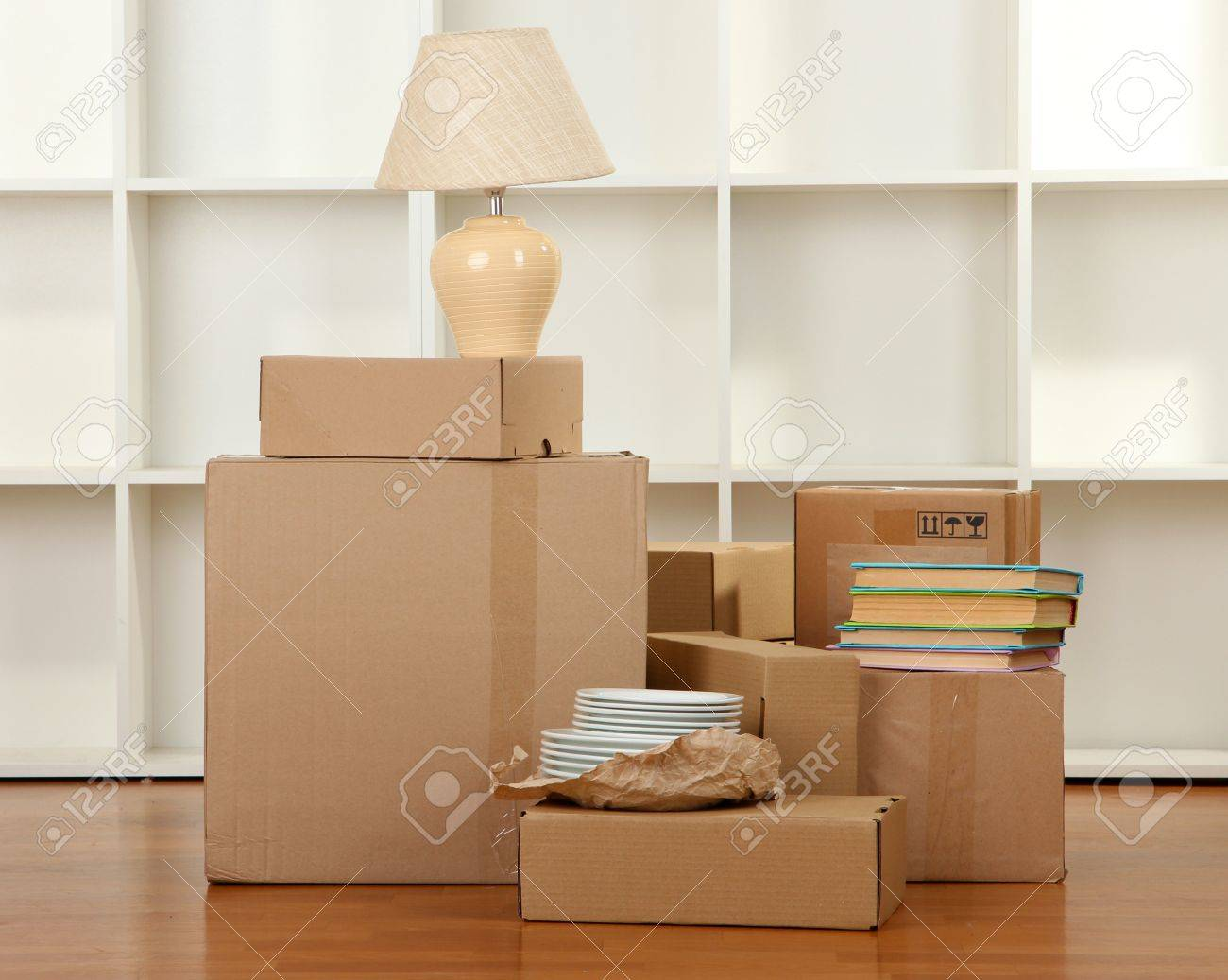 Moving Boxes In Empty Room Stock Photo Picture And Royalty Free