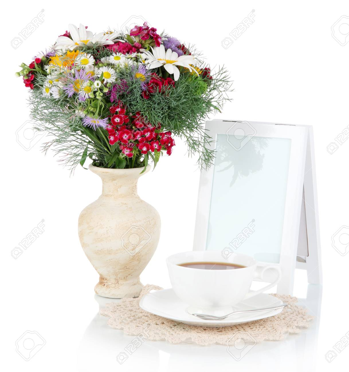 Beautiful Bright Flowers In Vase Isolated On White Stock Photo