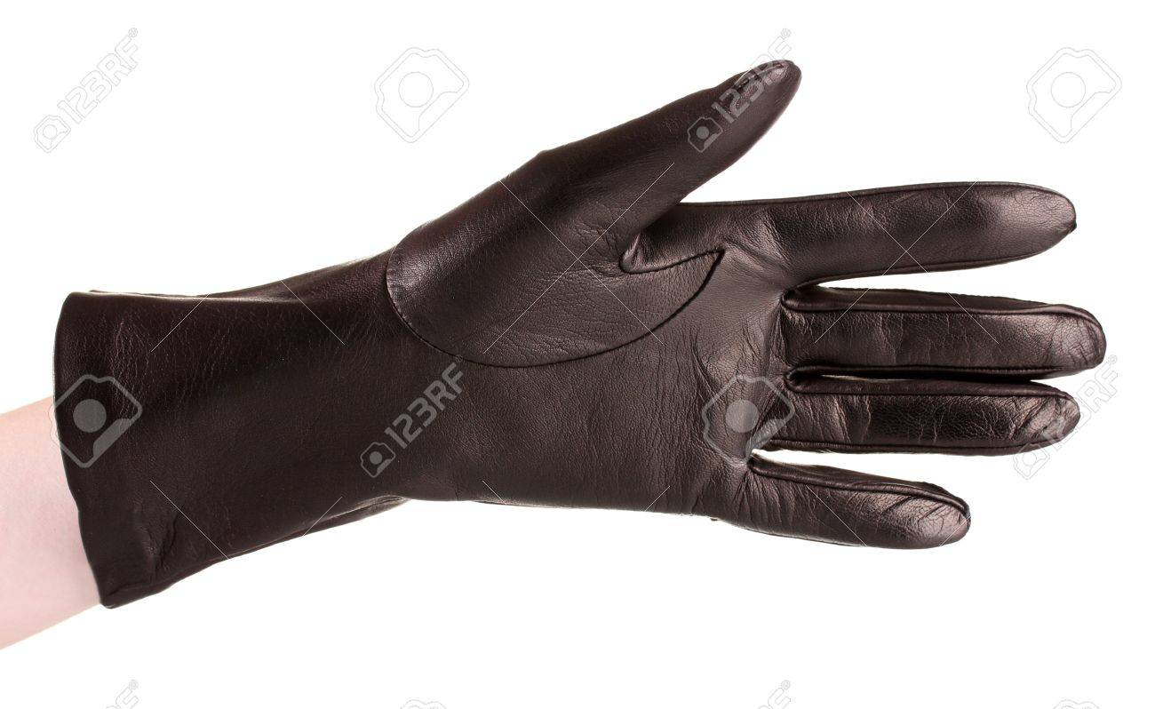 Black leather gloves with coloured fingers - Stock Photo Women Hand In Black Leather Glove Isolated On White