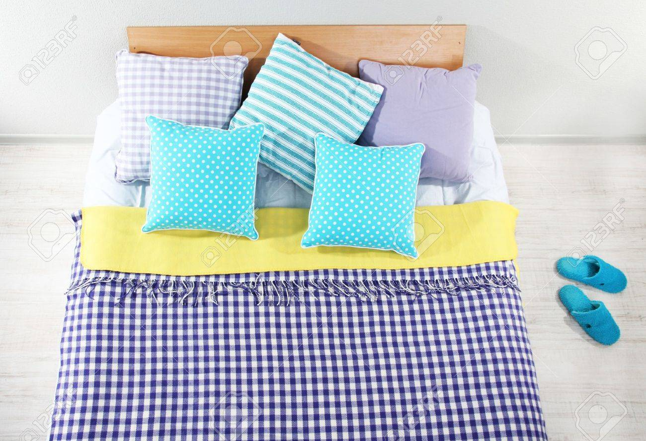 Double bed top view - Bed In Room Top View Closeup Stock Photo Picture And Royalty