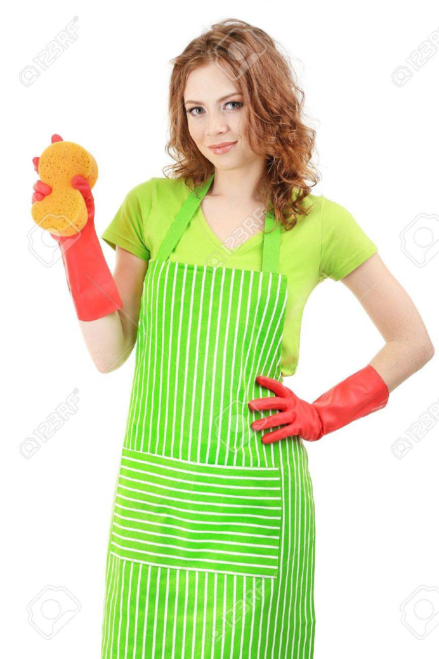 White rubber apron - Stock Photo Young Woman Wearing Green Apron And Rubber Gloves With Sponge Isolated On White