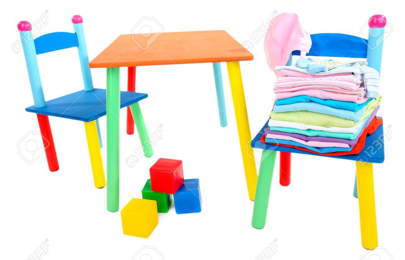 Small and colorful table and chairs for little kids isolated on white Stock Photo - 21337490