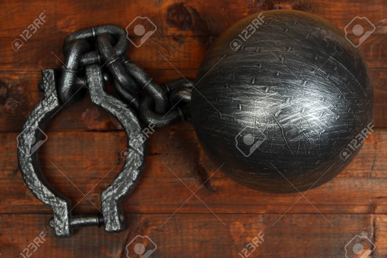 Ball and chain on wooden background Stock Photo - 21704759