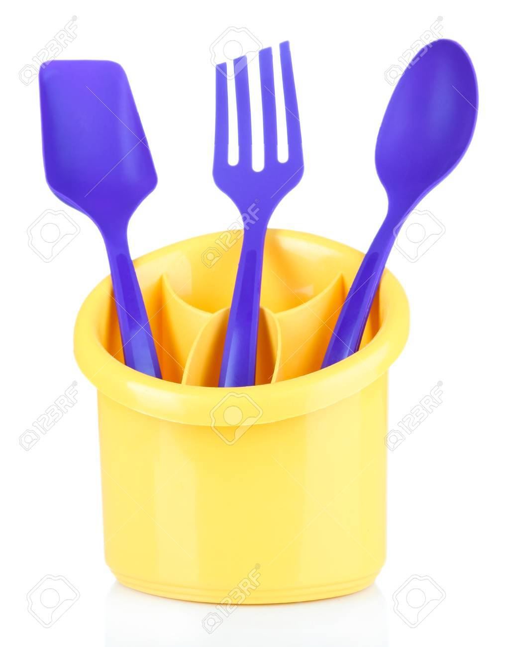 Plastic Kitchen Utensils In Cup Isolated On White Stock Photo   22323018