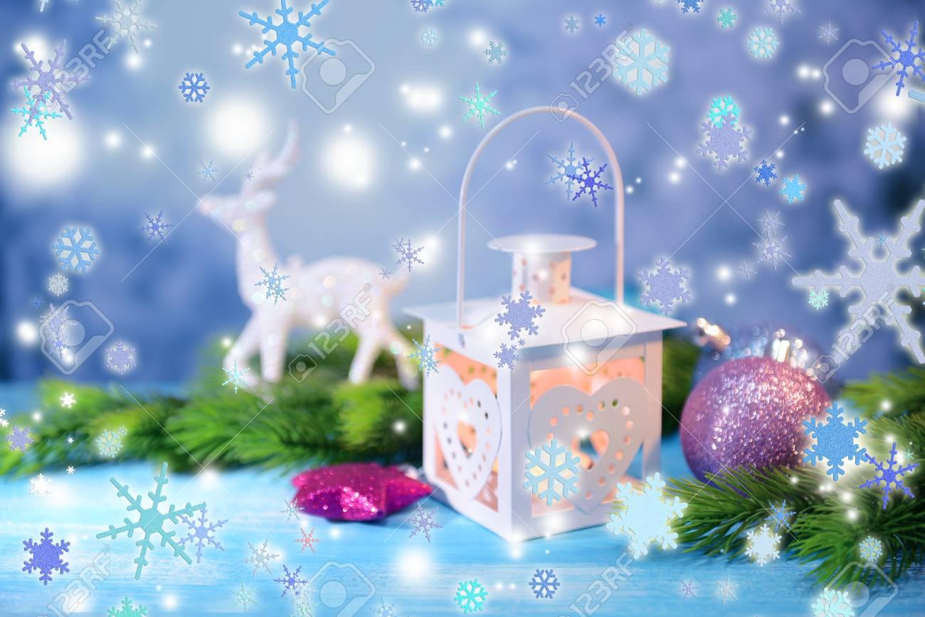 Christmas Lantern.Christmas Lantern Fir Tree And Decorations On Light Background