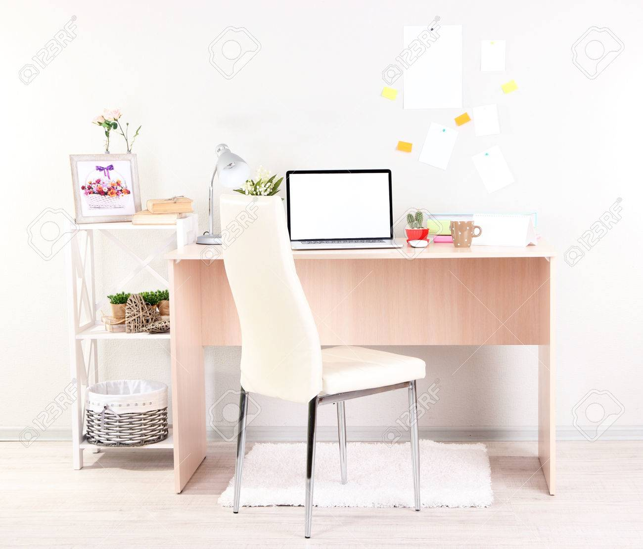 Workplace at home with laptop, close up Stock Photo - 24446123