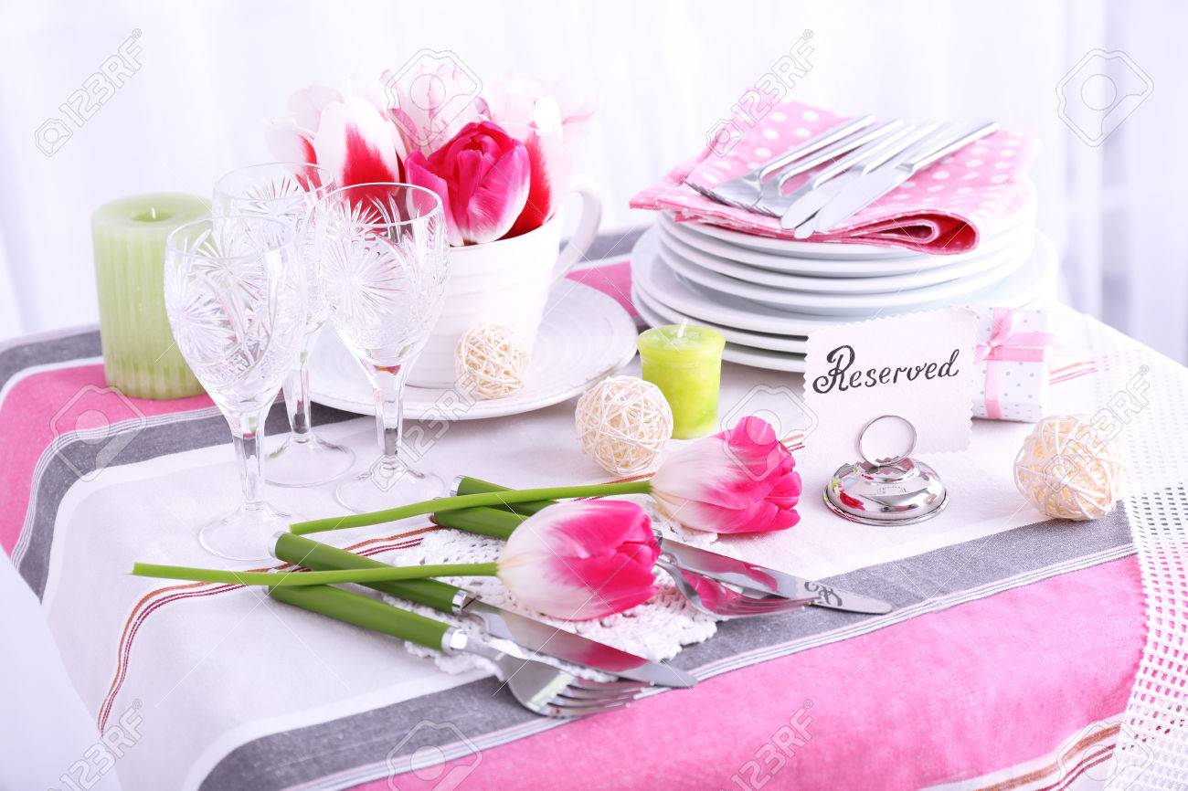 Table Setting Background beautiful spring table setting on light background stock photo