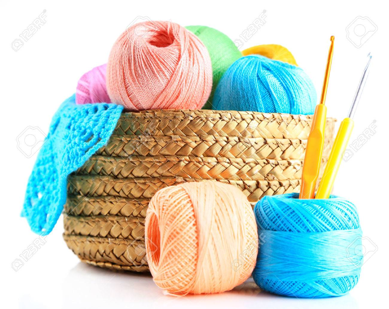 Colorful Yarn For Knitting With Napkin In Wicker Basket And Crochet