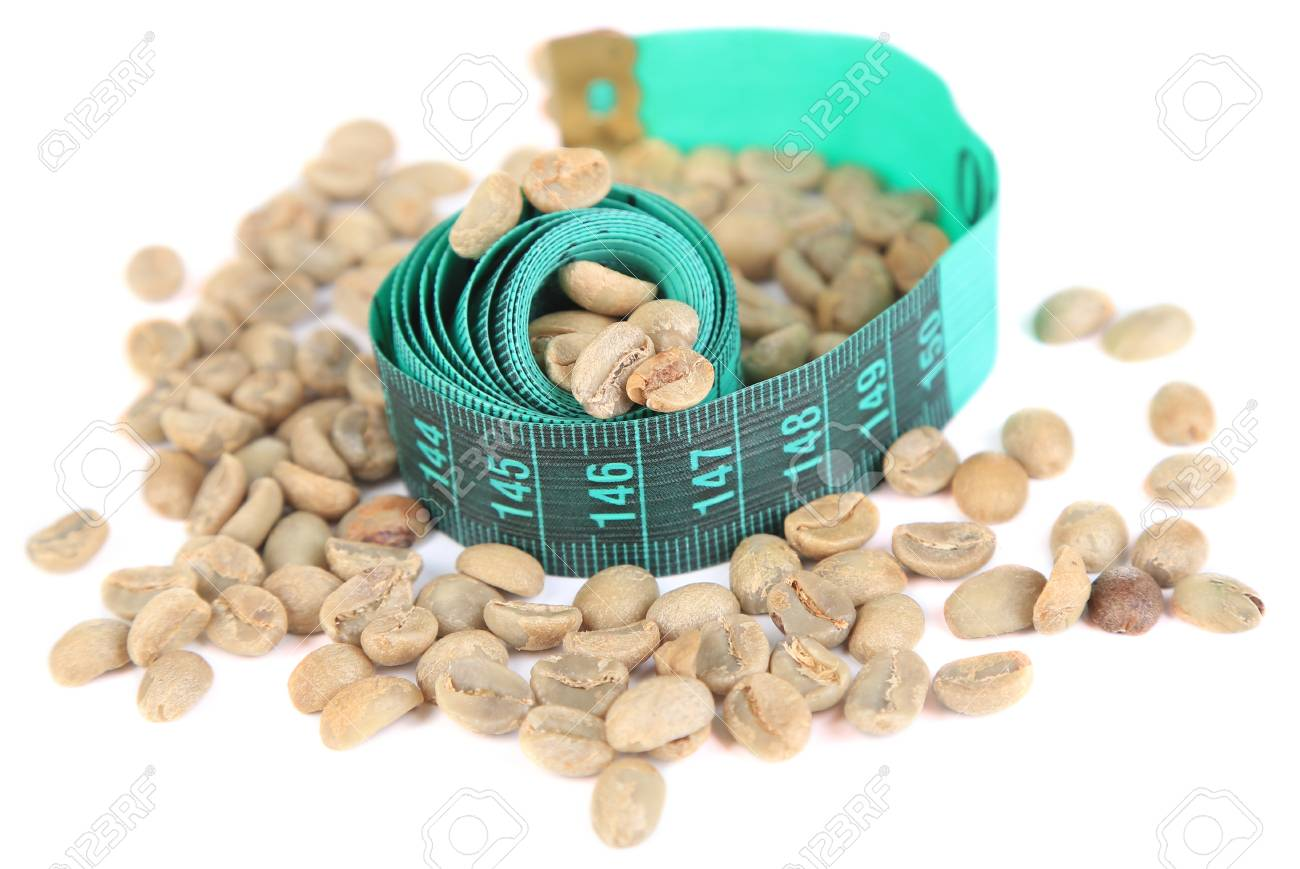 Raw Green Coffee Beans And Measuring Tape Isolated On White