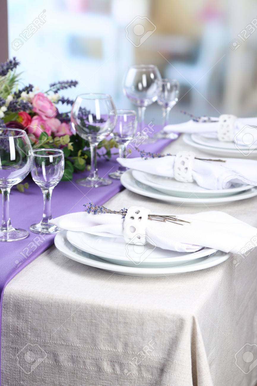 Dinner Table Background dining table setting with lavender flowers on table, on bright