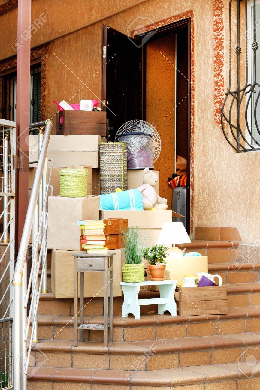 Moving Boxes On Stairs Of New House Outdoors Stock Photo Picture