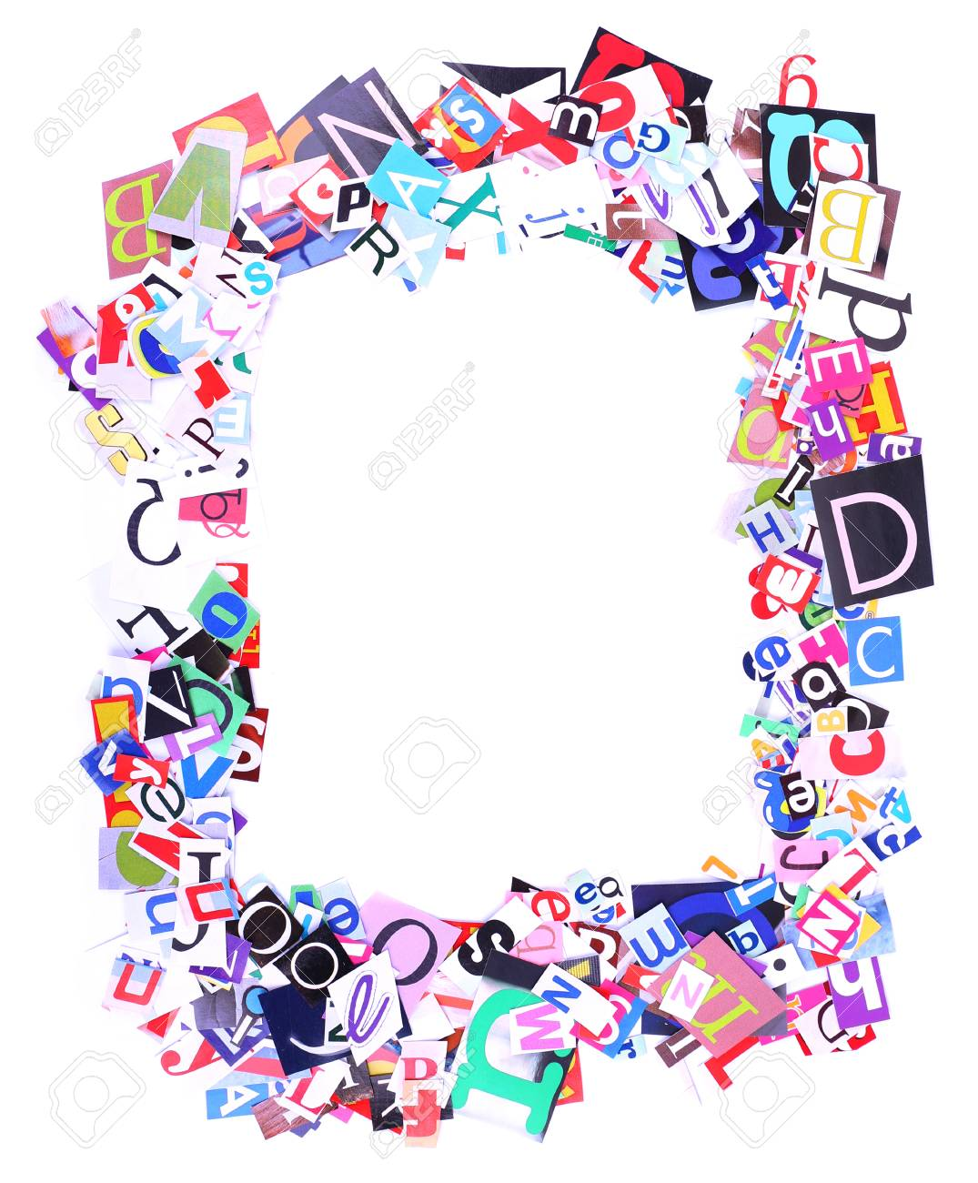 Colorful Newspaper Letters Shaped As Frame Isolated On White Stock ...