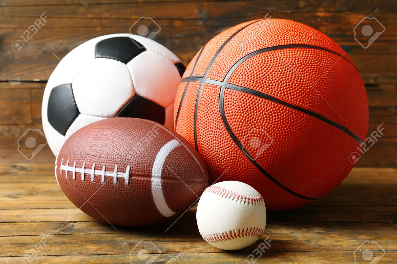 Sports Balls On Wooden Background Stock Photo Picture And Royalty Free Image Image 50048676