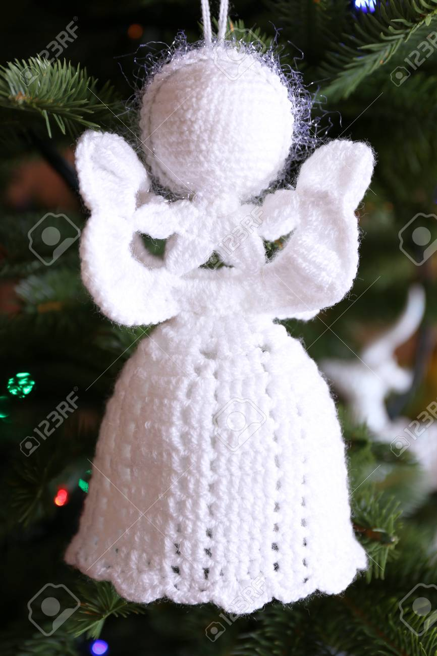 Knitted Christmas Angels And Other Decorations On Christmas Tree ...