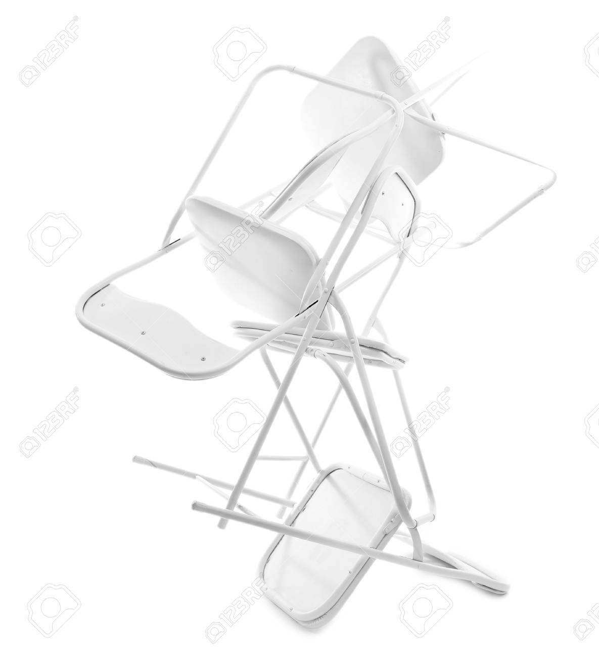 Phenomenal Stack Of Metal Chairs Isolated On White Evergreenethics Interior Chair Design Evergreenethicsorg