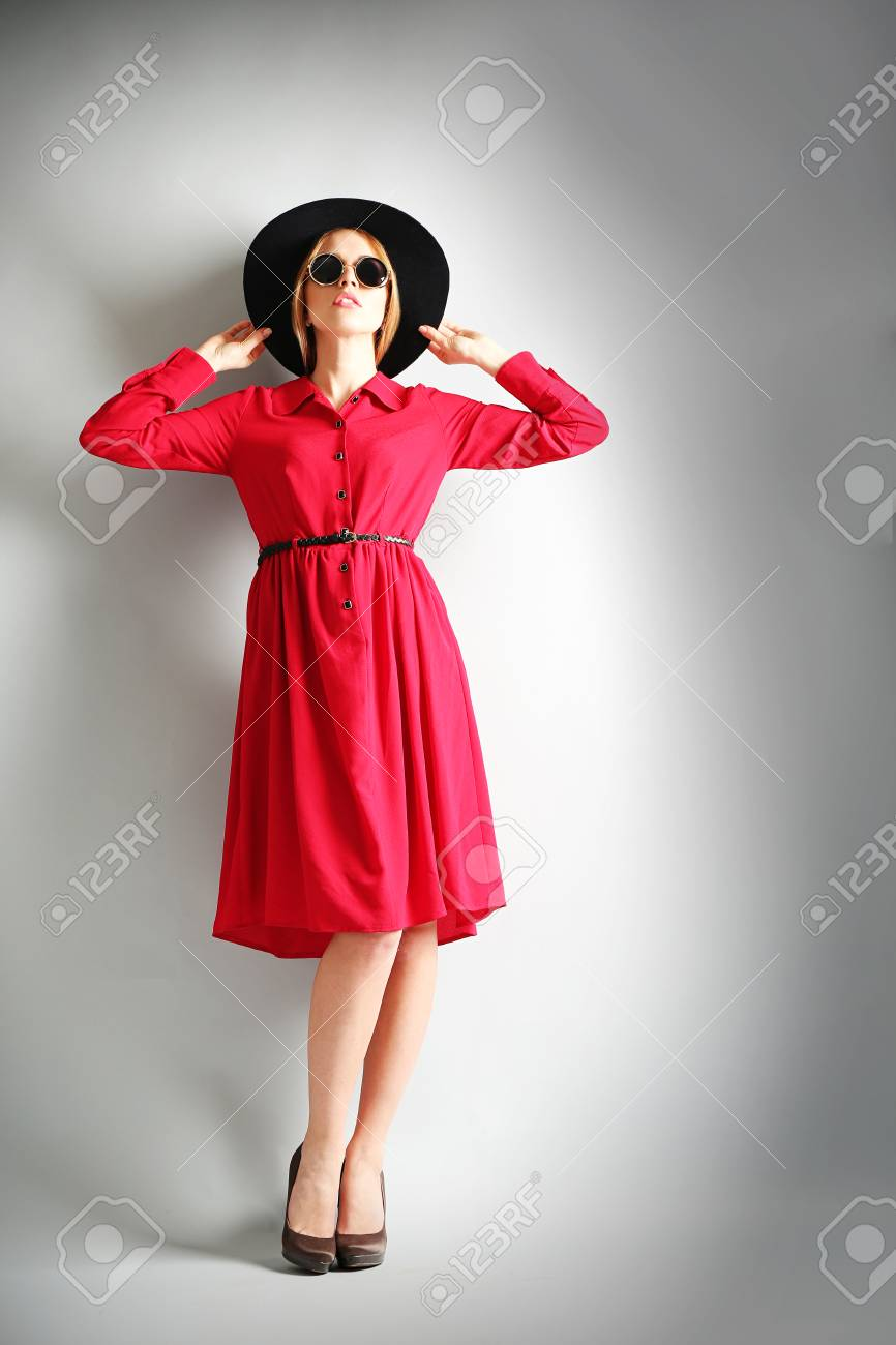 Expressive Young Model In Red Dress ba14a94157b