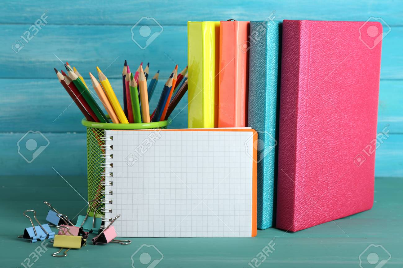 School equipment on wooden background - 102777894