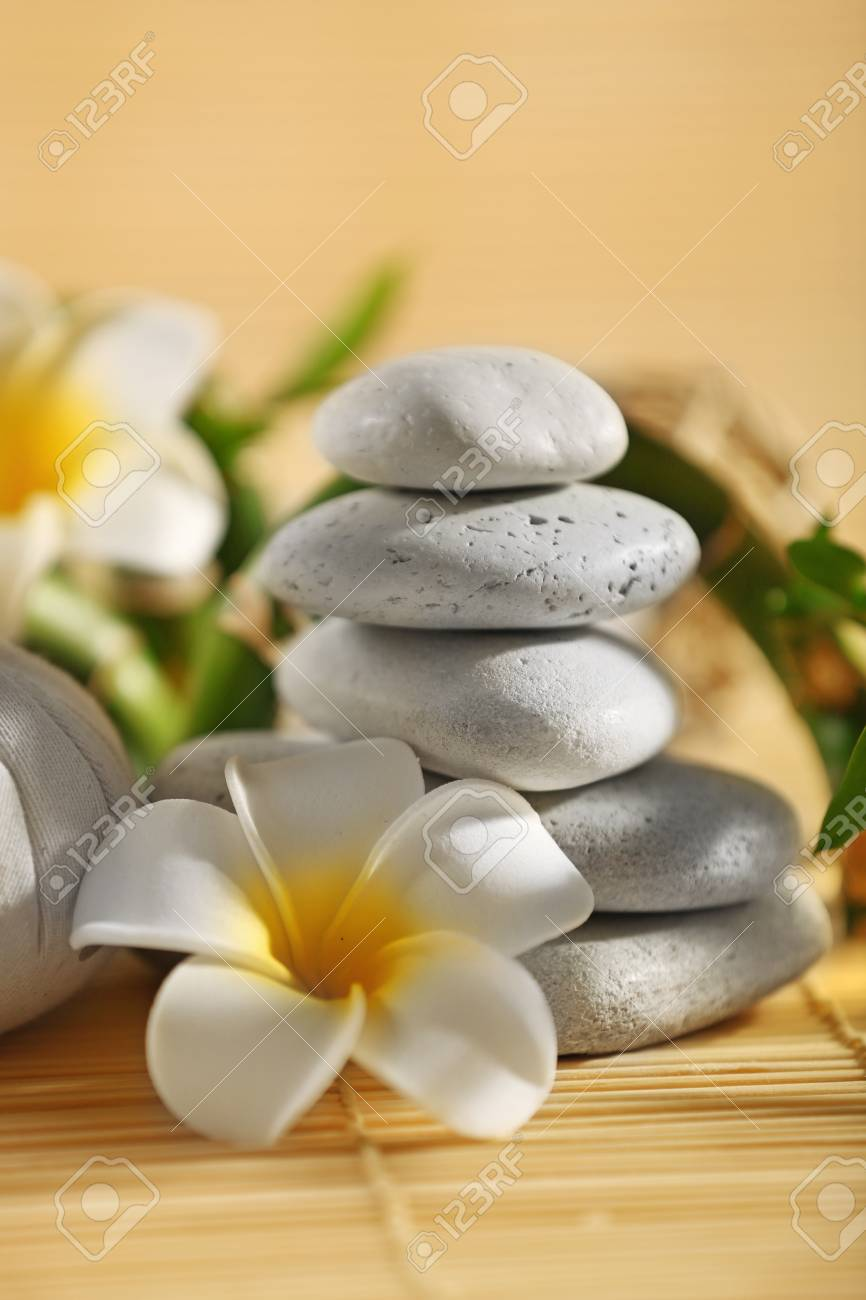 Natural Relaxing Spa Composition On Wicker Background Close Stock Photo Picture And Royalty Free Image Image 102755188