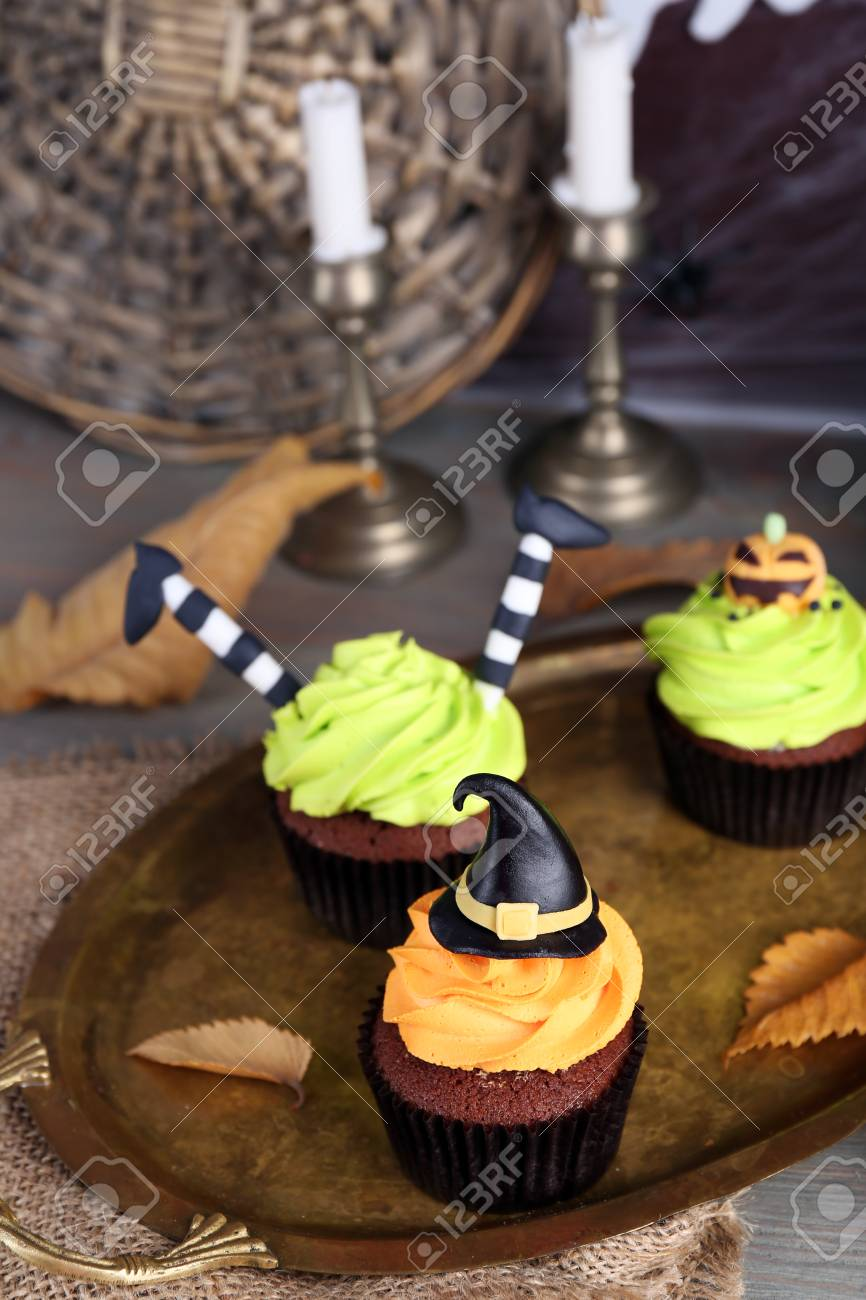 halloween cupcakes on metal tray on the table stock photo 103110329