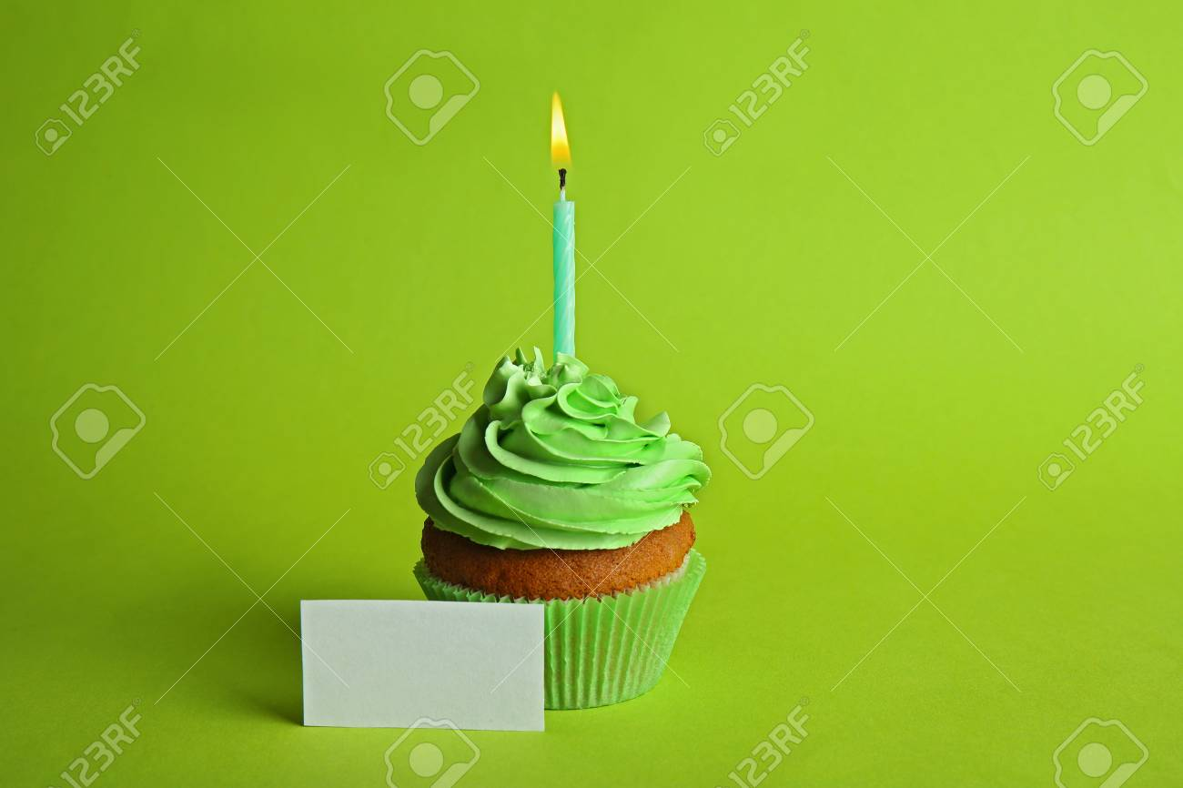 Green /& Yellow Birthday Cupcake Card