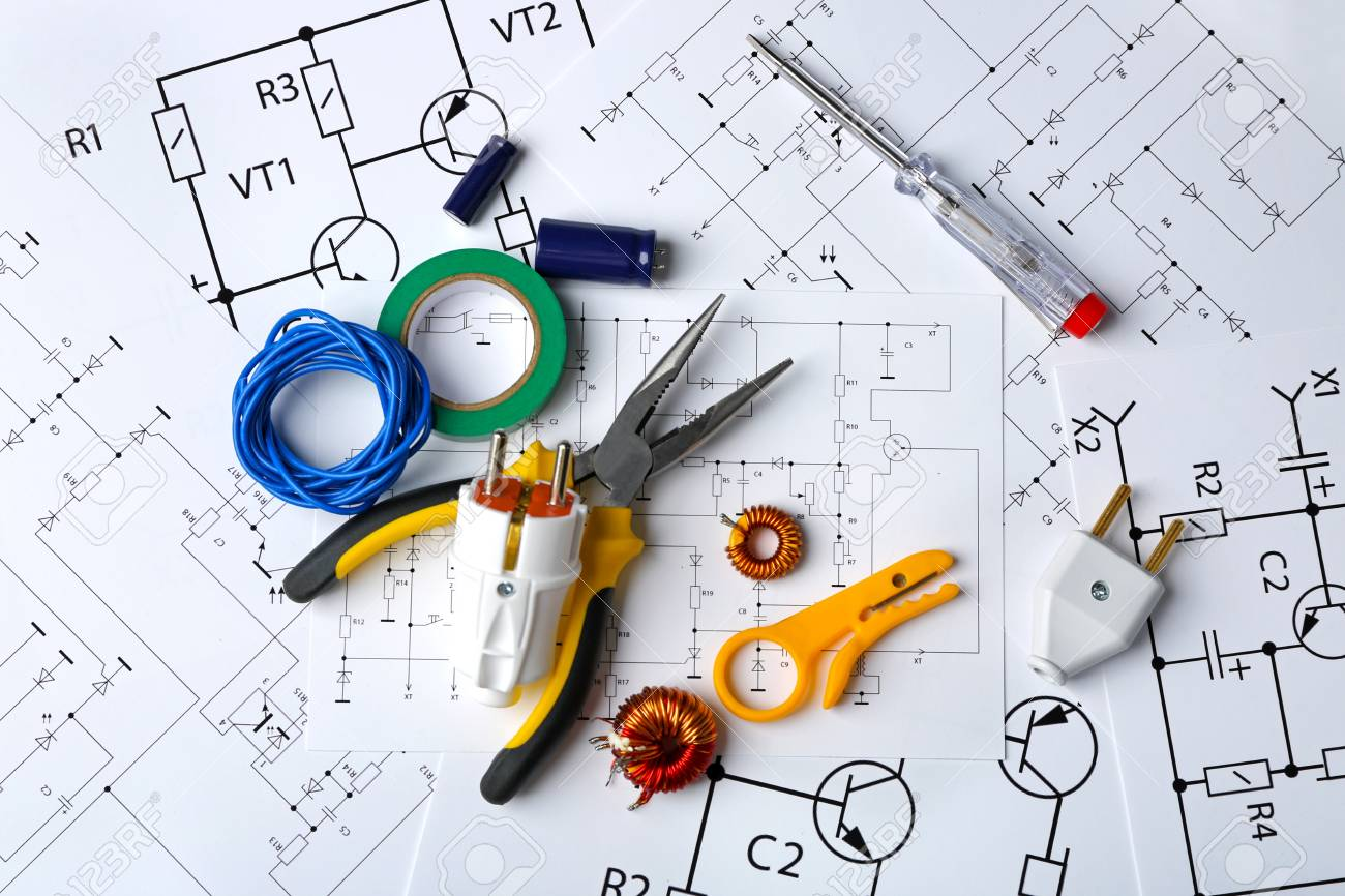 Different Electrical Tools On Paper Circuit Drawing Background Stock Electric Photo 108961986