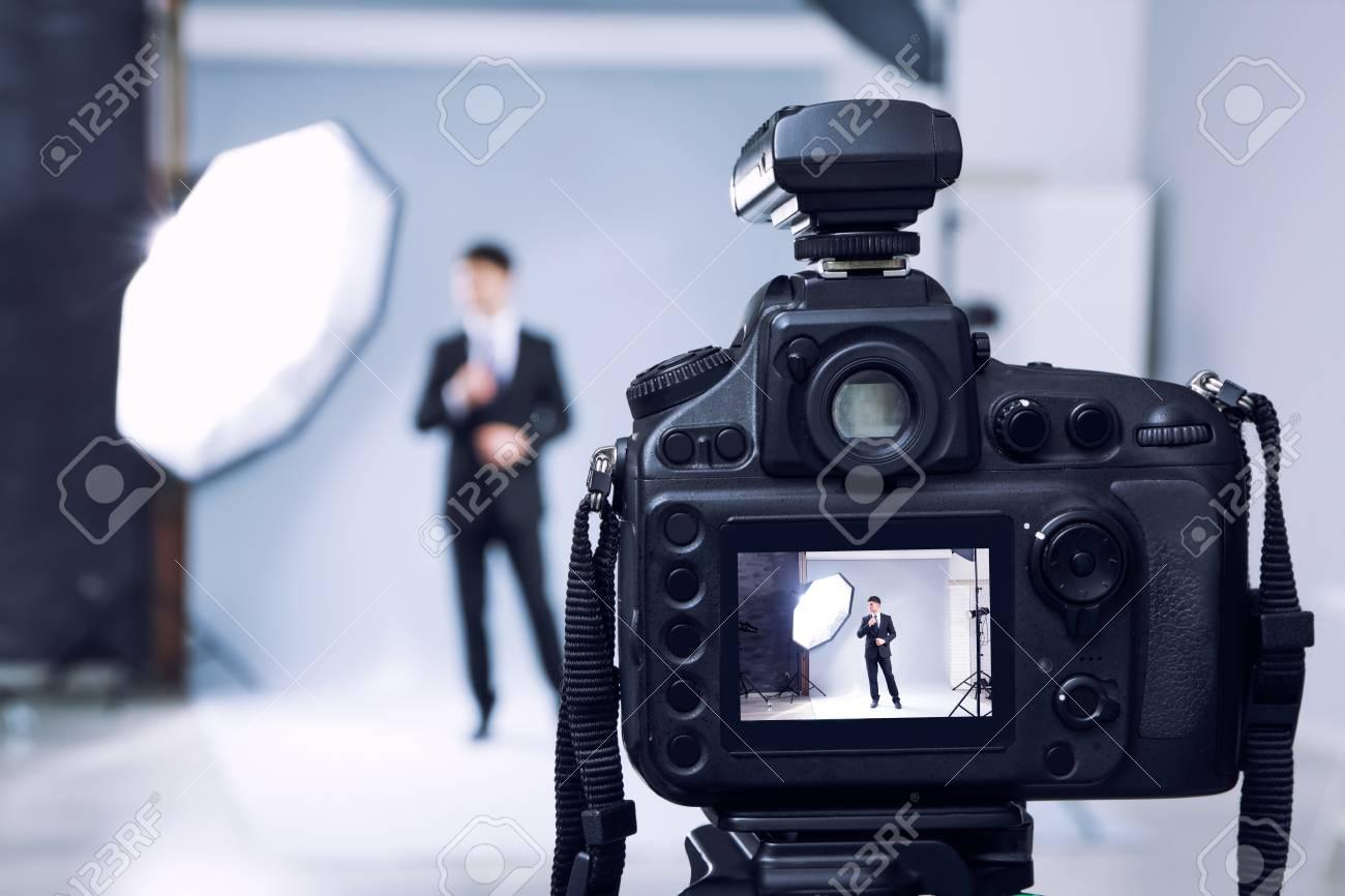 Closeup view of professional camera in studio - 110139485
