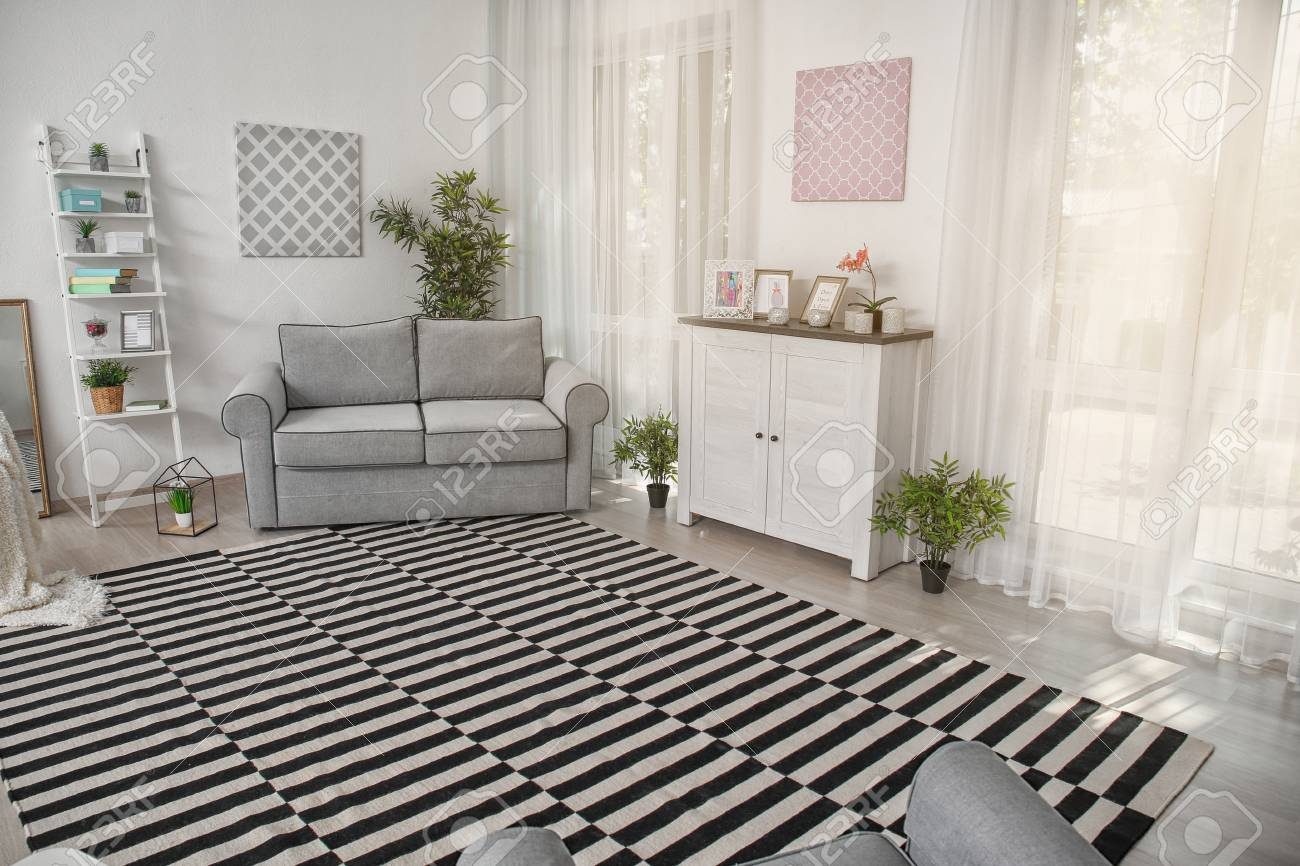 Modern Living Room Design With Big Striped Carpet Stock Photo Picture And Royalty Free Image Image 111709331