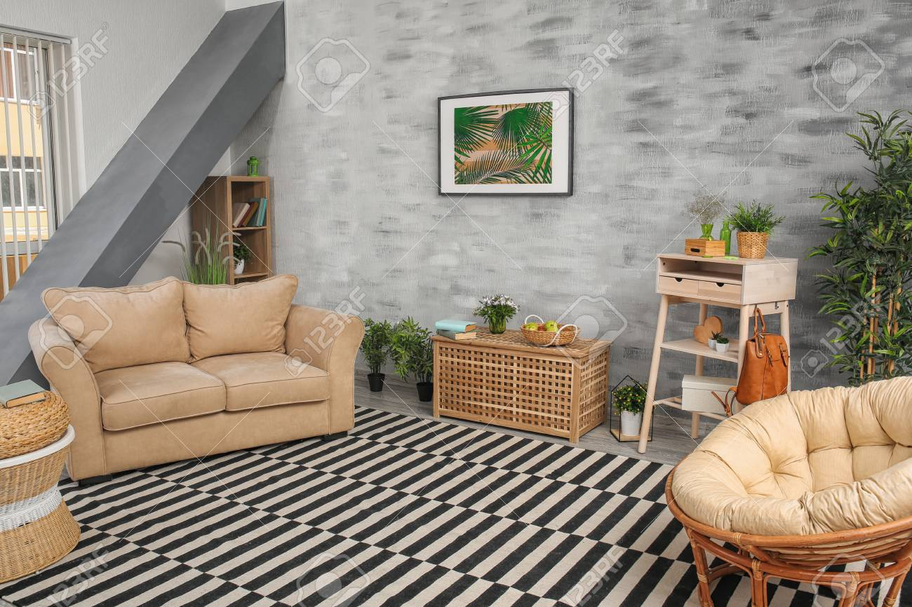 Modern Living Room Design With Big Striped Carpet Stock Photo Picture And Royalty Free Image Image 111709369