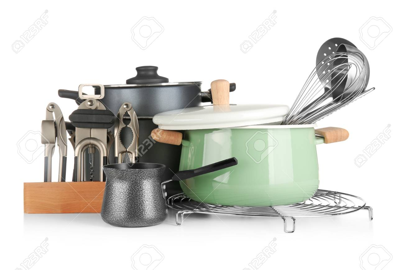 Different cooking utensils on white background - 113333689