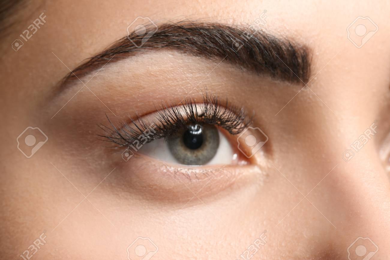 Young Woman With Permanent Eyebrows Makeup Closeup Stock Photo
