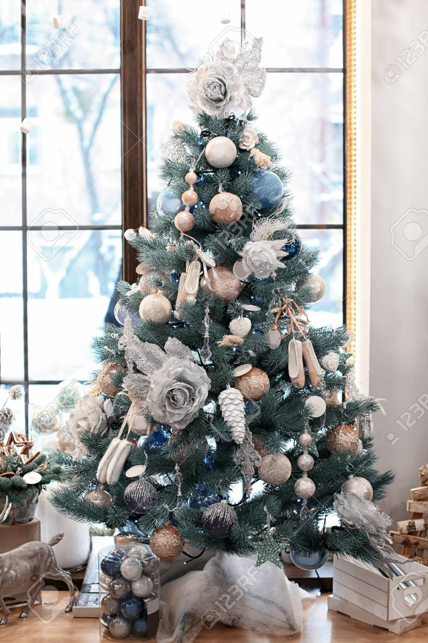 Beautiful Christmas Tree Decorated By Professional Florist In Stock Photo Picture And Royalty Free Image Image 112684492