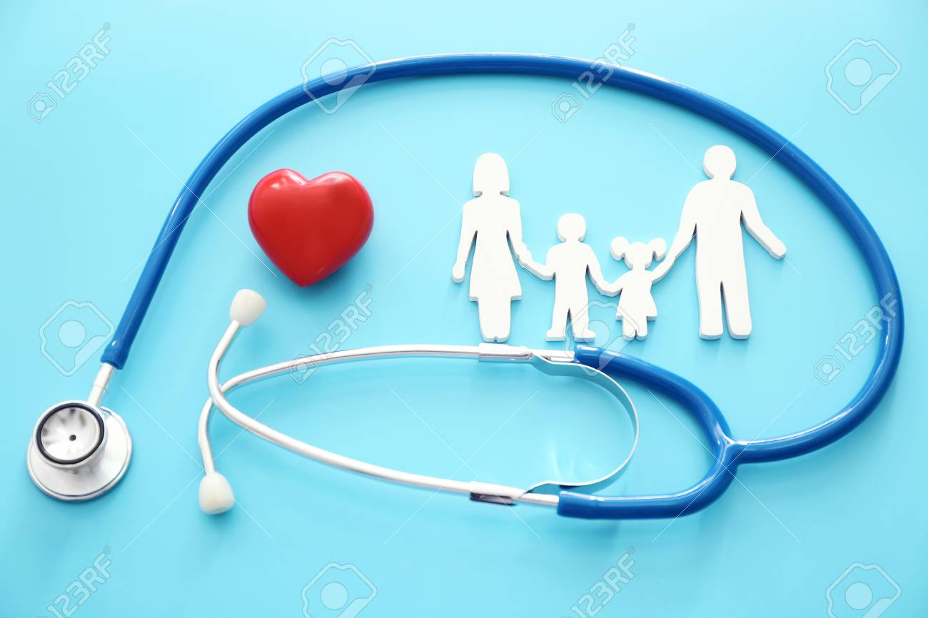 Family figure, red heart and stethoscope on color background. Health care concept - 113136522