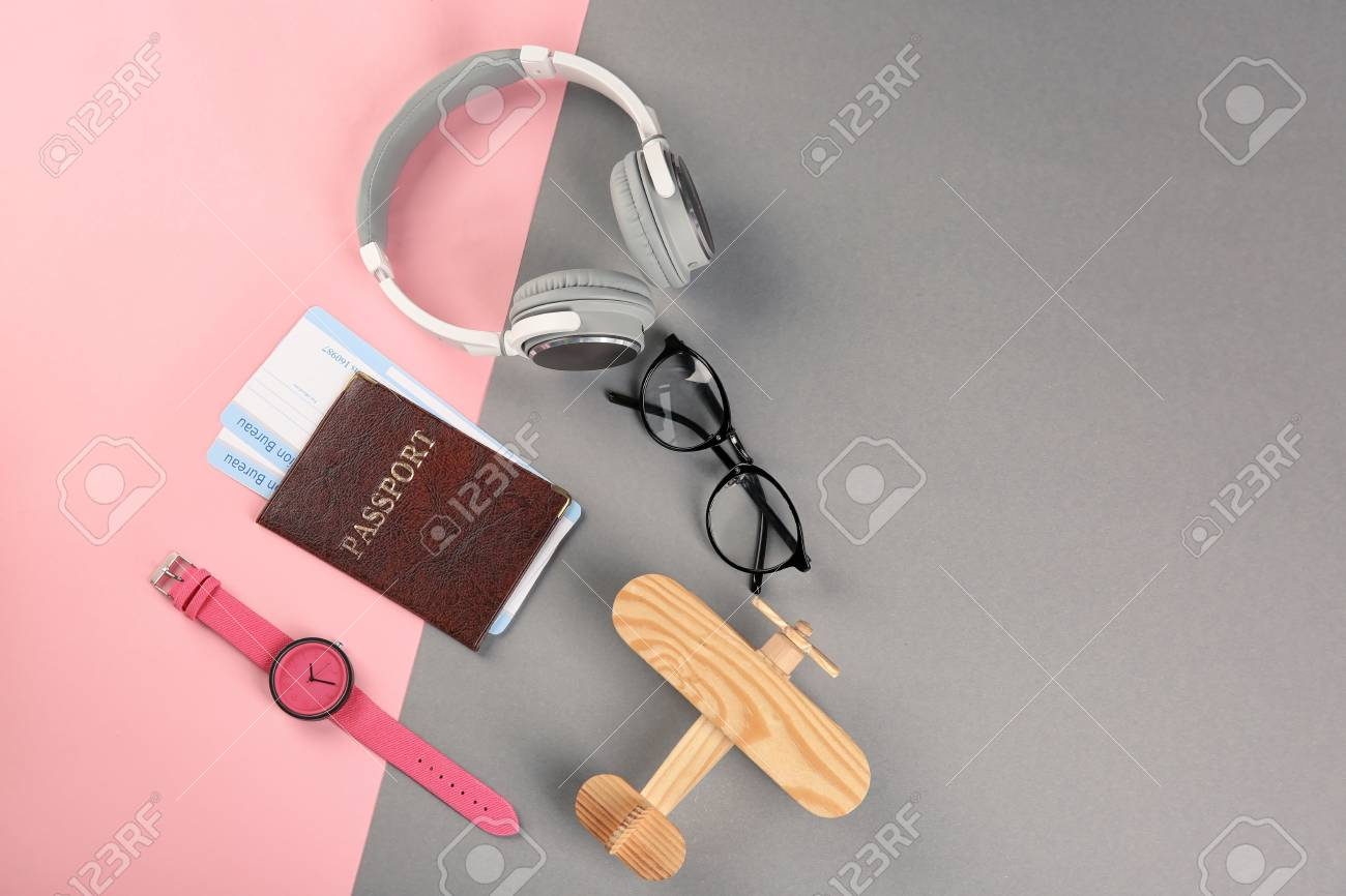 Composition With Tourist\'s Stuff On Color Background, Top View ...