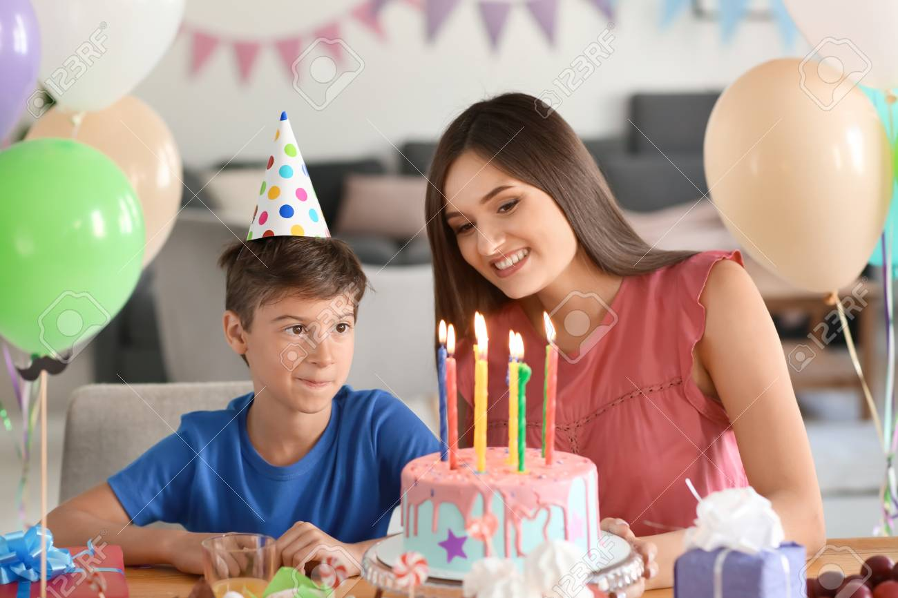 Remarkable Cute Little Boy And His Mother At Table With Birthday Cake Stock Birthday Cards Printable Nowaargucafe Filternl