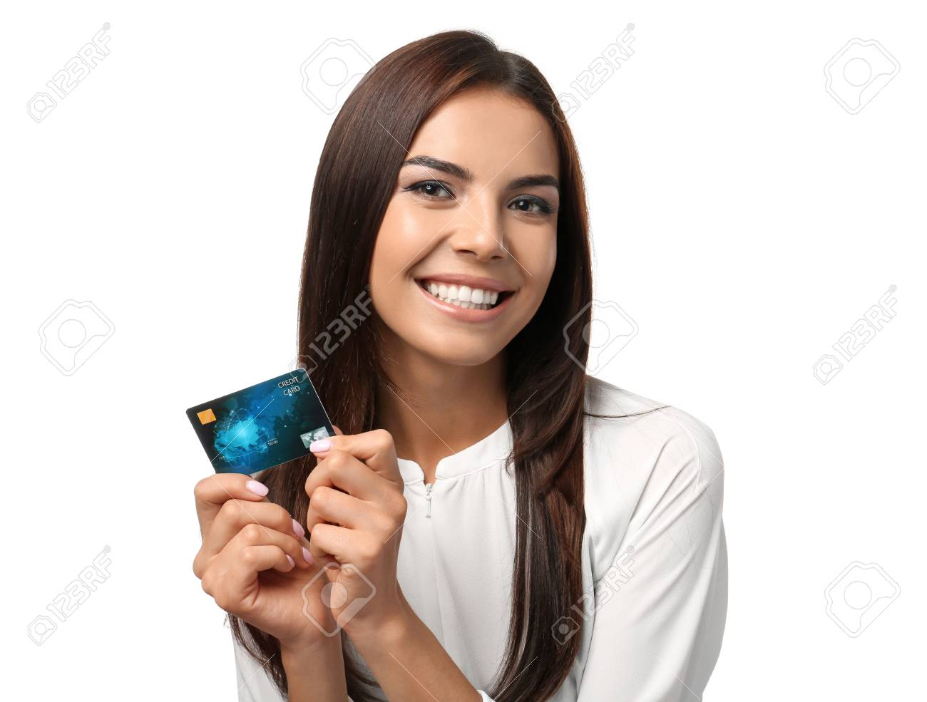 Young woman with credit card on white background. Online shopping - 117991889