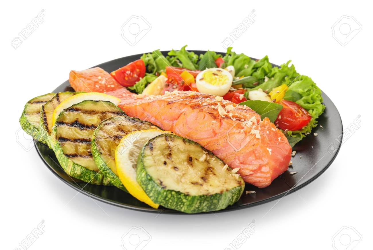 Plate with tasty salmon and fresh salad on white background - 115052812