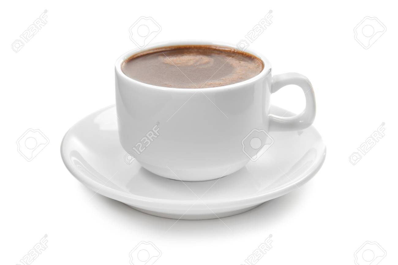 Cup of hot chocolate on white background - 115055508