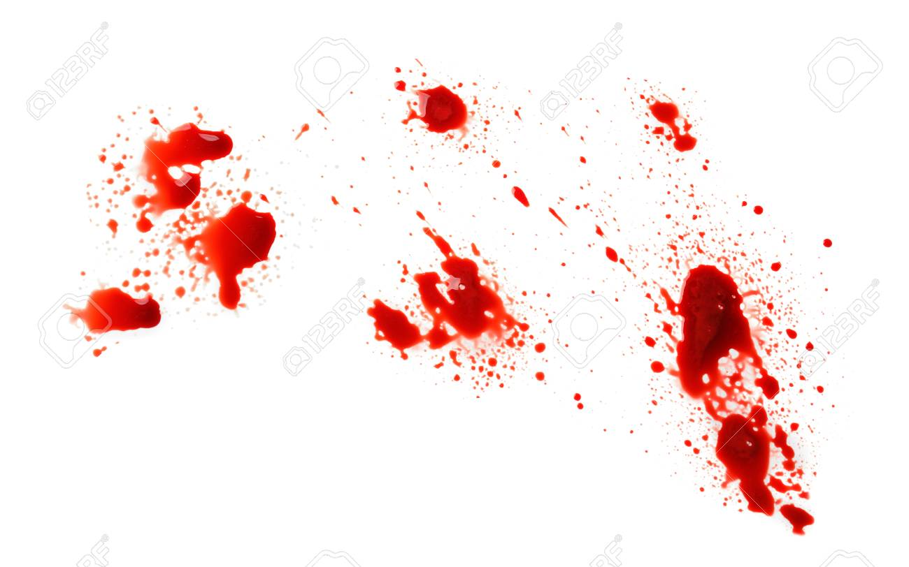 Blood splashes on white background - 115303848