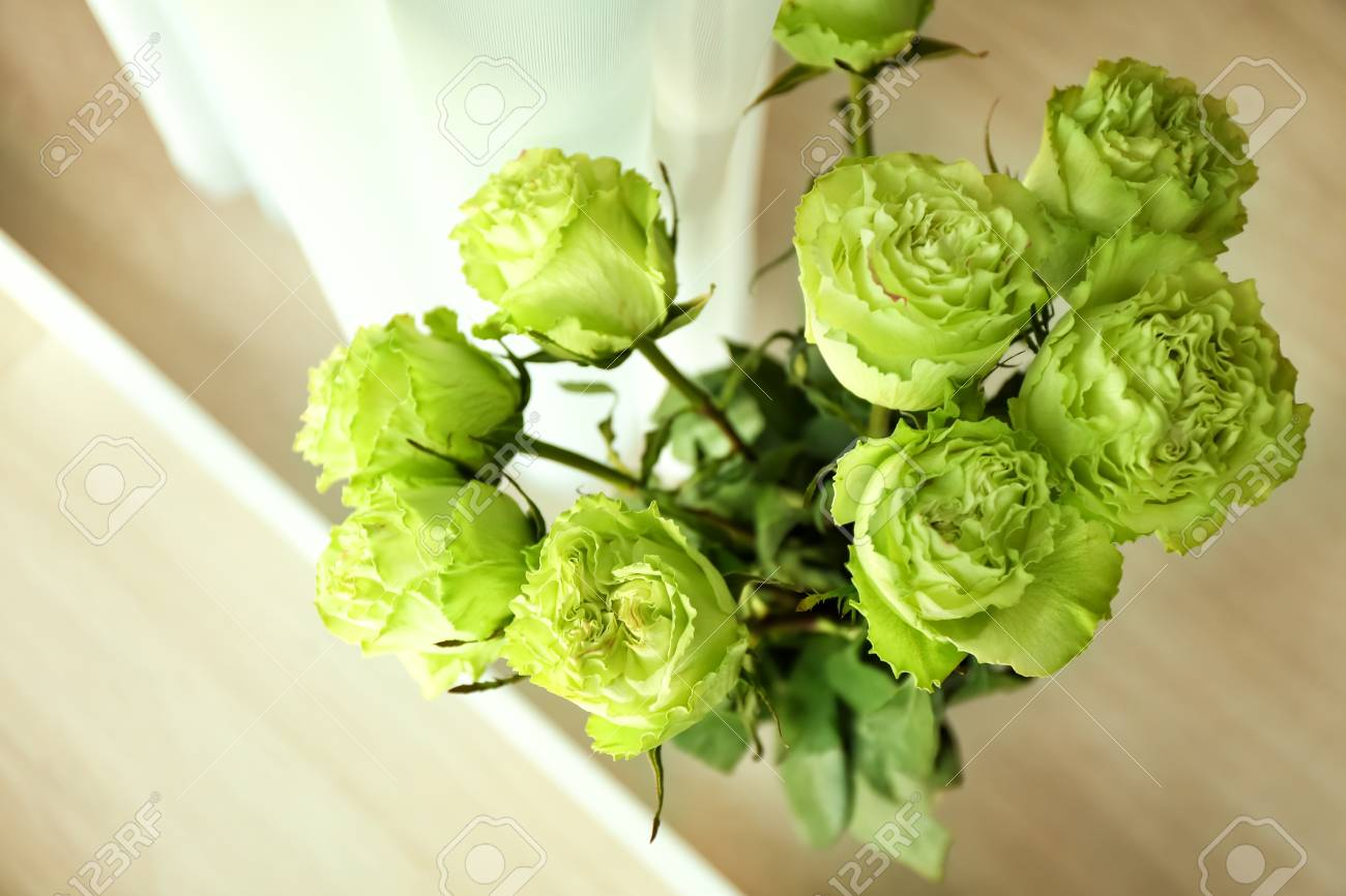 Beautiful Bouquet Of Green Roses Top View Stock Photo Picture And Royalty Free Image Image 115861519