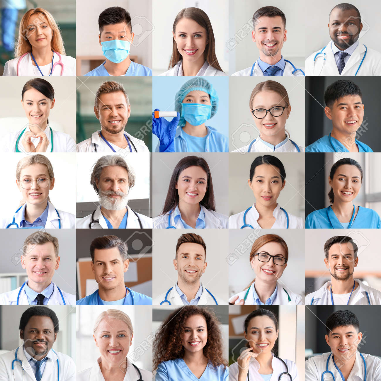Collage of photos with different doctors and nurses - 166807492