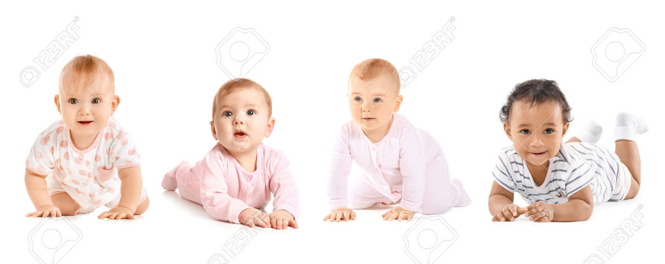 Cute little babies on white background - 166061871